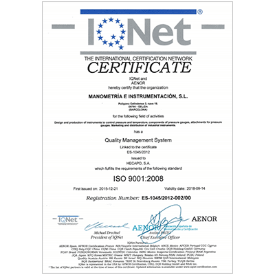 certificate iqnet iso 9001:2008